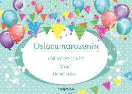 Pozvánka narozeniny balónky