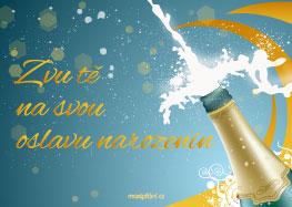 Pozvánka narozeniny šampaňské