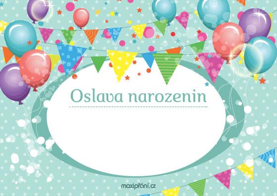Obrázková pozvánka na oslavu narozenin - balónky - přední strana