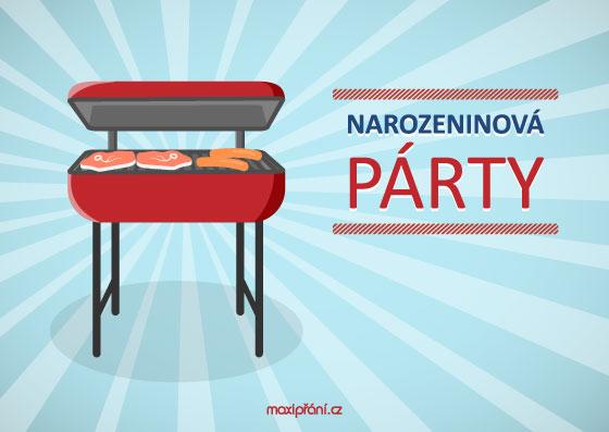 Obrázková pozvánka na oslavu narozenin - BBQ - přední strana