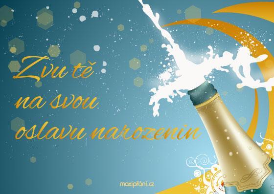 Obrázková pozvánka na oslavu narozenin - šampaňské - přední strana