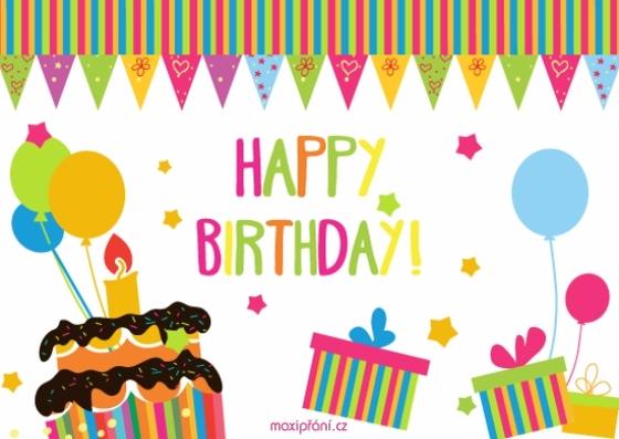 Obrázkové přání k narozeninám - dárečky a dort - přední strana