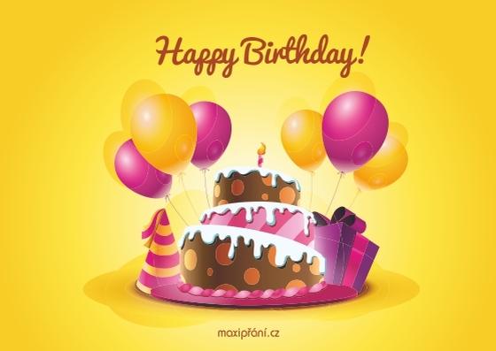 Obrázkové přání k narozeninám - dort - přední strana