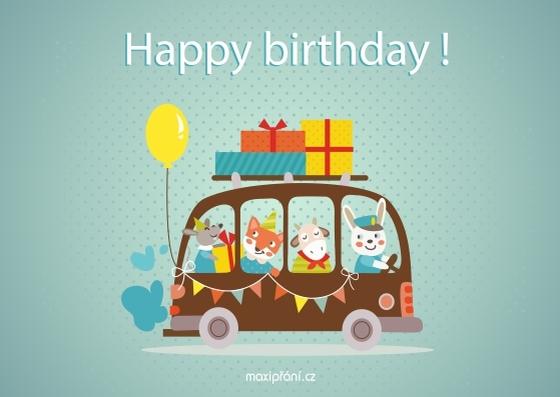 Obrázkové přání k narozeninám - pro děti - přední strana