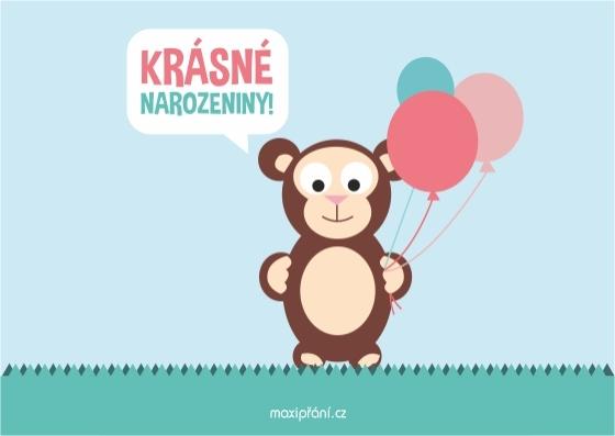Obrázkové přání k narozeninám - opičák - přední strana