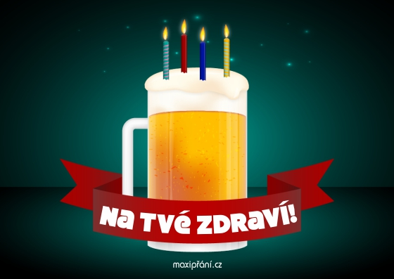 Obrázkové přání k narozeninám - pivní dort - přední strana