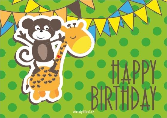 Obrázkové přání k narozeninám - zvířátka - přední strana