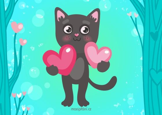 Obrázkové přání k svátku - kočička - přední strana