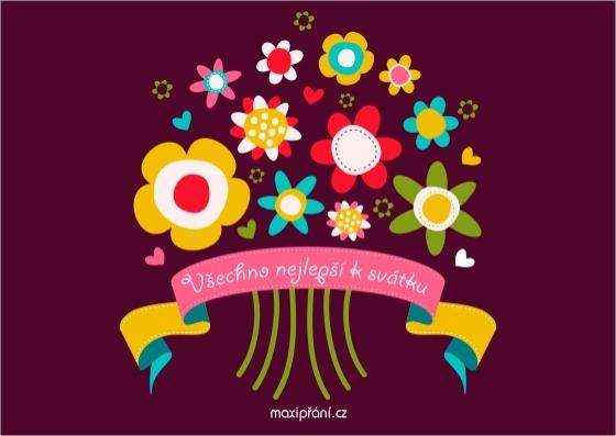 Obrázkové přání k svátku - kytice - přední strana