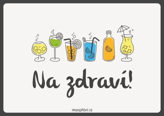 Obrázkové přání k svátku - drinky - přední strana