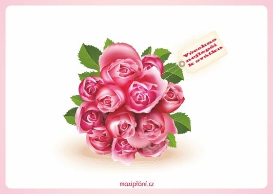 Obrázkové přání k svátku - růže - přední strana