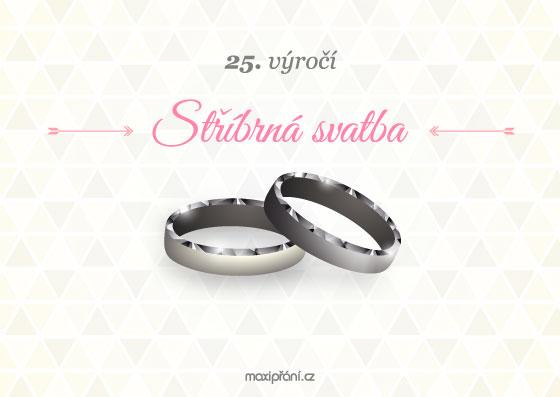 Přání k 25. výročí svatby - stříbrná svatba - přední strana