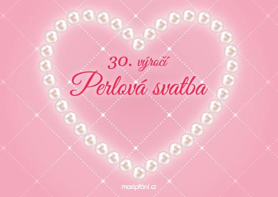 Přání k 30. výročí svatby - perlová svatba - přední strana