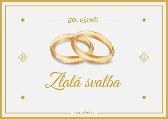 Přání k 50. výročí svatby - zlatá svatba - přední strana