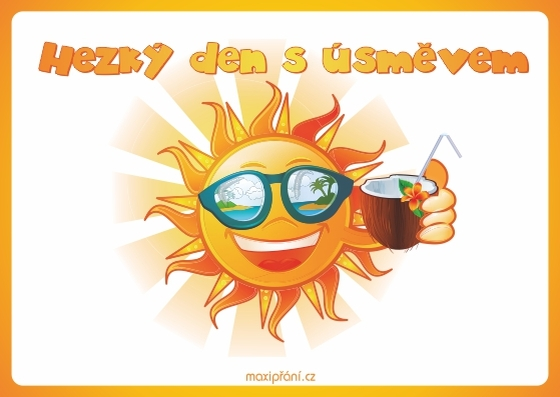 Přání pro hezký den - sluníčko - přední strana