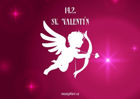 Blahopřání k Valentýnu - Anděl - přední strana