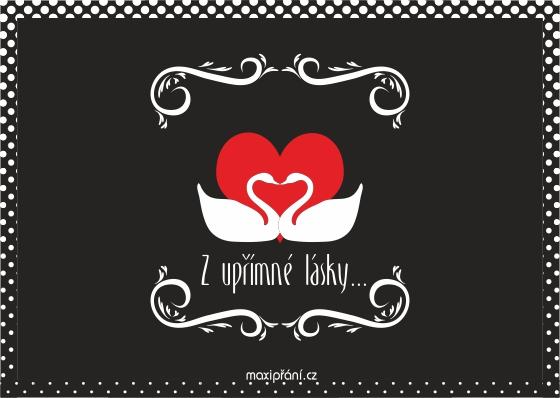 Přání k Valentýnu - Labutě - přední strana