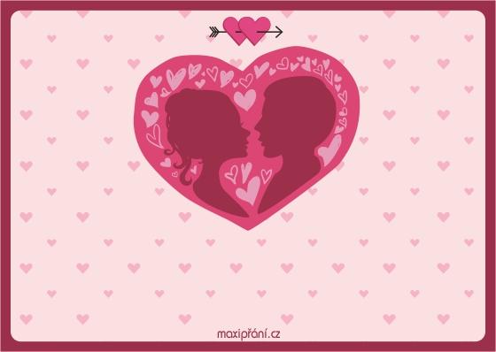 Valentýnské blahopřání - Srdce - přední strana