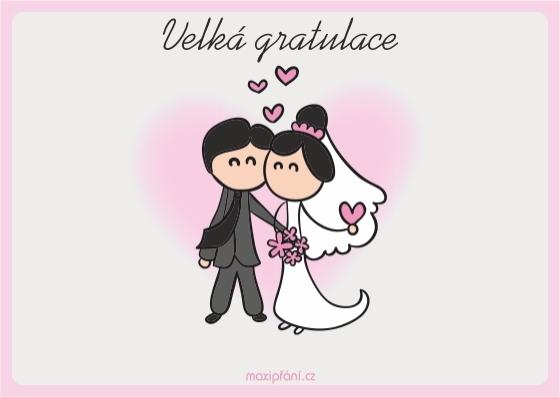 Svatební blahopřání novomanželům -  ženich a nevěsta - přední strana