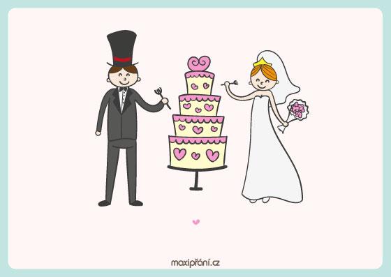 Svatební oznámení vzor - dort - přední strana
