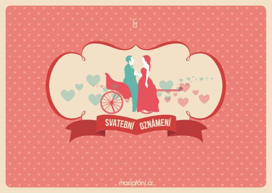 Svatební oznámení vzor - kočár lásky - přední strana