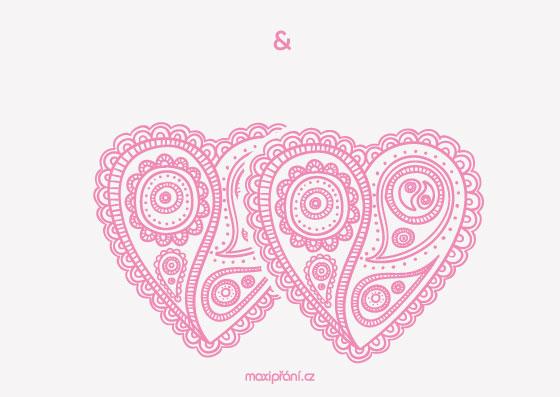 Svatební oznámení vzor - srdíčka - přední strana