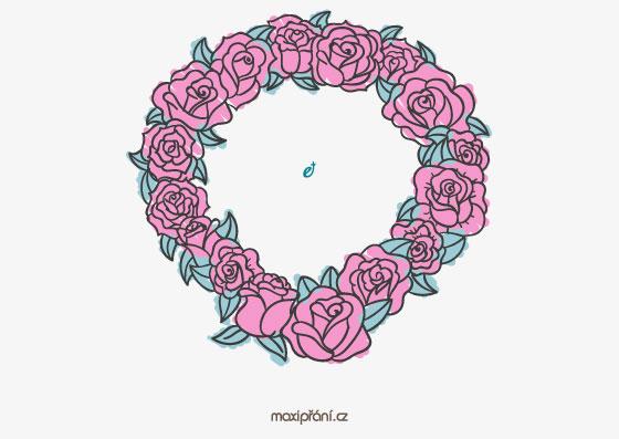 Svatební oznámení vzor - květinový věnec - přední strana