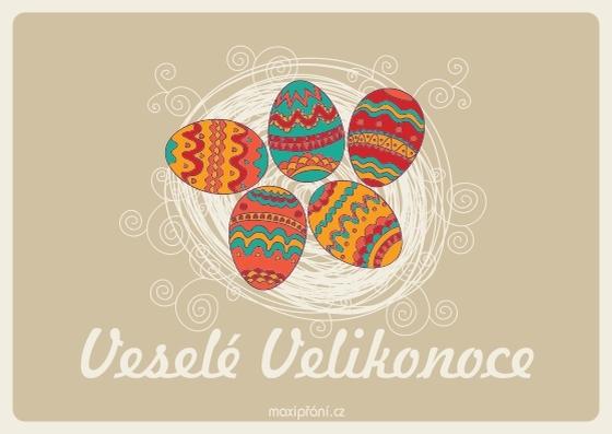 Velikonoční pohlednice s kraslicí - přední strana