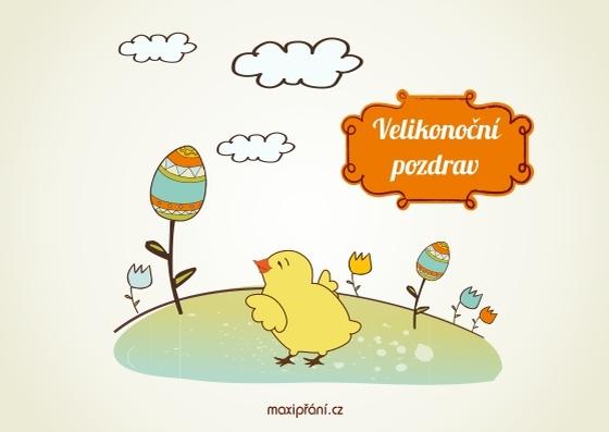 Velikonoční přání s kuřátkem - přední strana