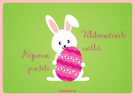 Přání k Velikonocům se zajíčkem - přední strana