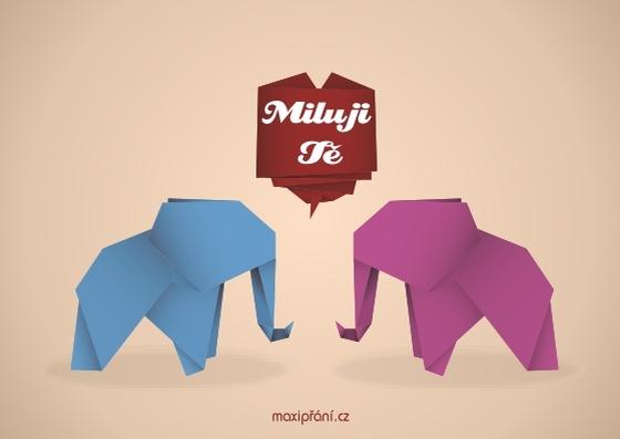 Zamilované obrázkové přání z lásky - růžový slon - přední strana