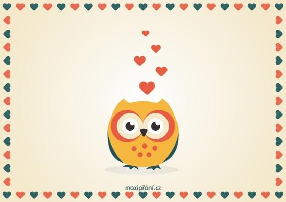 Zamilované obrázkové přání z lásky - sova - přední strana