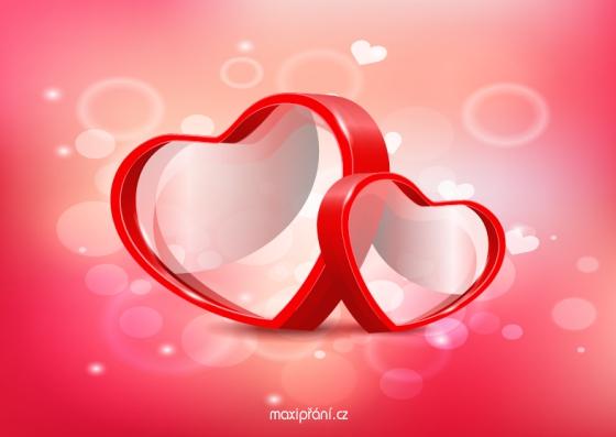 Zamilované obrázkové přání z lásky - srdíčka - přední strana