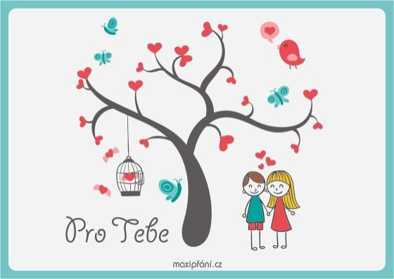 Zamilované obrázkové přání z lásky - strom lásky - přední strana